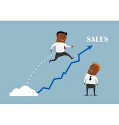 Businessman with a growing sales chart vector image