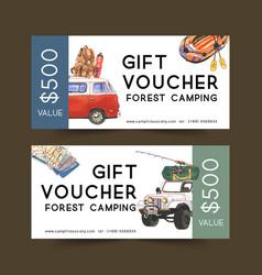 Camping voucher design with van backpack boat vector