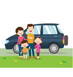 Car and family portrait vector