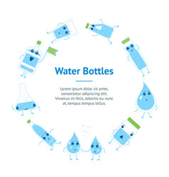 cartoon water funny emotions bottle banner card vector image