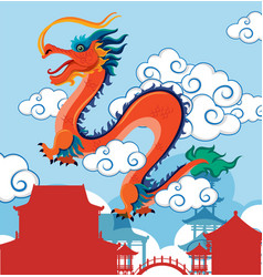 Chinese dragon flying over village vector