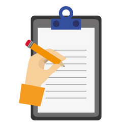 clipboard document with hand writing vector image