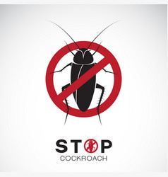 cockroach in red stop sign on white background vector image