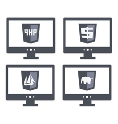 Collection web development shield signs vector