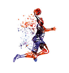 Color basketball player vector