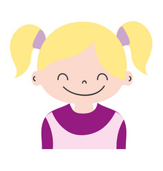Colorful girl with two tails hair design vector