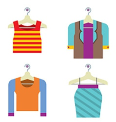 Colorful Woman Clothes On Hanger vector image