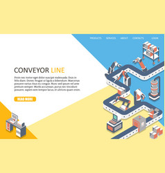 Conveyor line landing page website template vector