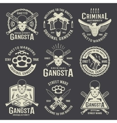 Criminal Authority Monochrome Emblems vector
