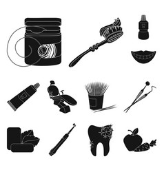Dental care black icons in set collection vector