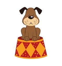 Dog circus stand icon vector