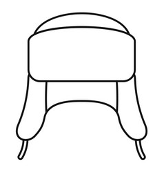 Ear flap winter hat icon outline style vector