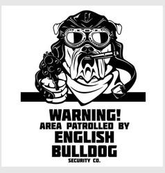 English bulldog dog with gun and cigar - english vector