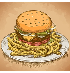 engraving hamburger retro vector image