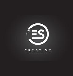 es circular letter logo with circle brush design vector image