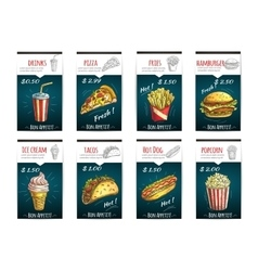 Fast food menu price posters with description vector