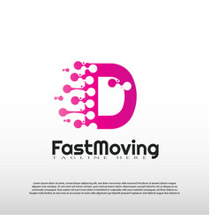 Fast moving logo with initial d letter concept vector