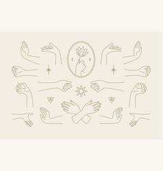 Female hands gestures collection line art hand vector