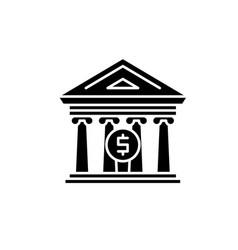 financial organization black icon sign on vector image