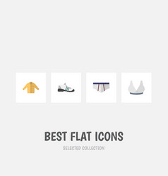 Flat icon dress set of brasserie banyan sneakers vector