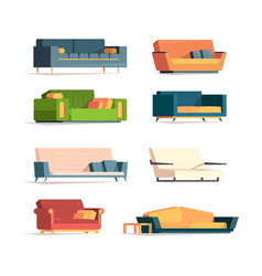 flat sofa soft furniture divan couch canaps vector image