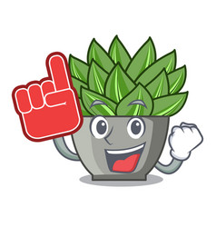 Foam finger cartoon echeveria cactus in cactus vector