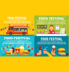 food festival banner set flat style vector image