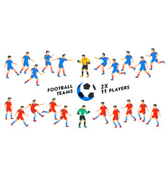 Football team set two full football teams 11 vector