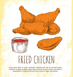 Fried chicken legs with tasty ketchup color poster vector