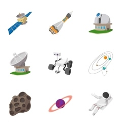 Galaxy icons set cartoon style vector image