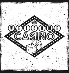 gambling sign emblem with text welcome to casino vector image