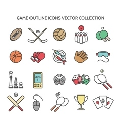 Game outline icons vector image