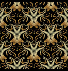 gold embroidery floral seamless pattern damask vector image