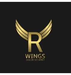 Golden R letter logo vector