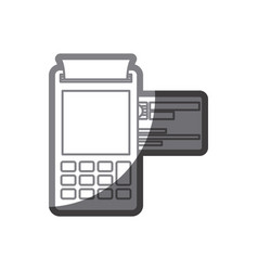 Grayscale silhouette of payment terminal with vector