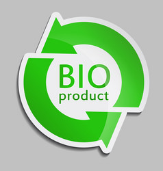green sticker bio product vector image