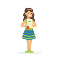 happy girl holding her excellent report card vector image