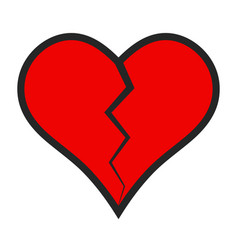 heart icon crack divided in half broken vector image