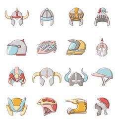 Helmet icons set cartoon style vector