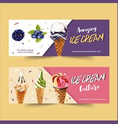 Ice cream banner design with berries watercolor vector