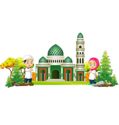 Islamic mosque cartoon with two kids vector