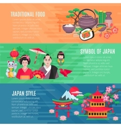 Japanese Life Style Horizontal Banners Set vector