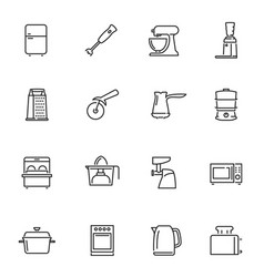kitchen appliances thin line icons set isolated vector image