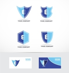 Letter e shield logo icon set vector