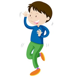 Little boy in blue dancing vector image