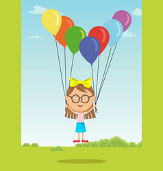 Little girl with glasses flying with balloons vector