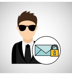 man cartoon email digital technology security vector image
