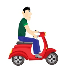 Man goes on scooter vector