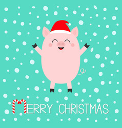 Merry christmas pig piglet cute cartoon funny vector