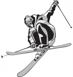 Mountain skier silhouette vector